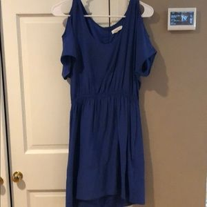 Open shoulder blue dress from urban outfitters